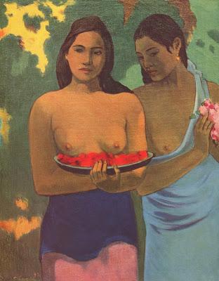 Gauguin Muchachas con flores de mango _1